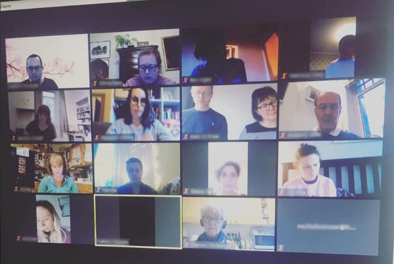 Take Note Edinburgh choir - rehearsals on Zoom. For those that can see the photograph, the solemn faces were due to us concentrating on learning a new piece online!