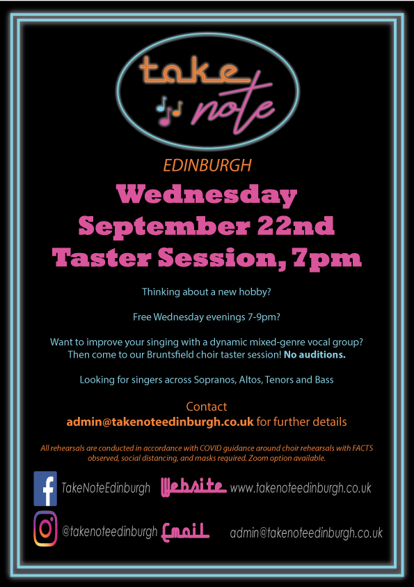 Take Note Edinburgh is proud to present our latest Taster Session September 22nd at 7pm